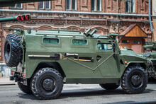 Army Military Armored Car Tiger On The City Street
