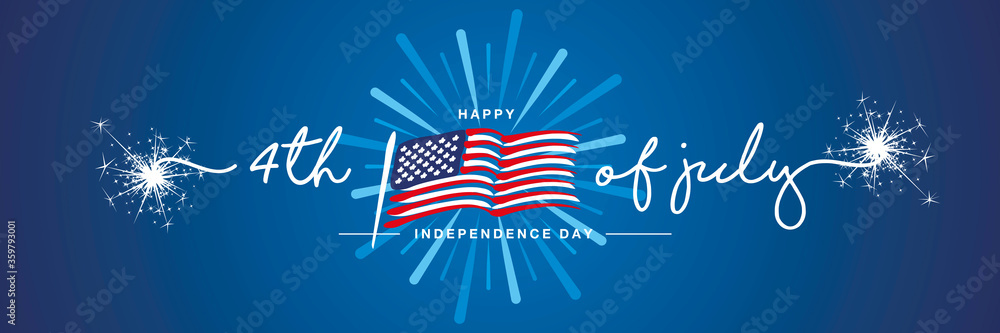 Fototapeta 4th of july handwritten typography happy Independence day firework US abstract wavy flag blue background banner