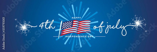 4th of july handwritten typography happy Independence day firework US abstract wavy flag blue background banner - 359793001
