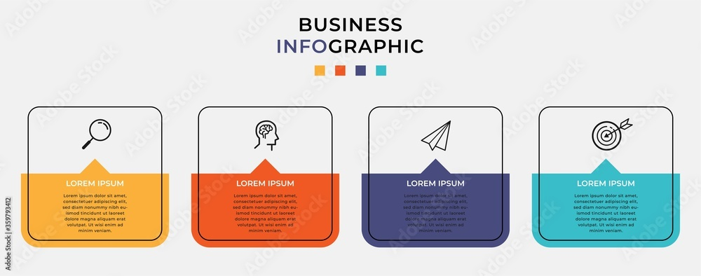 Fototapeta Business Infographic design template Vector with icons and 4 four options or steps. Can be used for process diagram, presentations, workflow layout, banner, flow chart, info graph