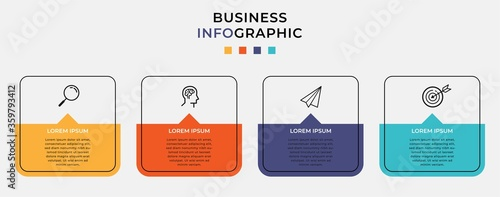 Tableau sur Toile Business Infographic design template Vector with icons and 4 four options or steps