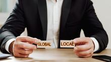 Global, Local Concept. Man Hol...