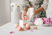 Hand Made Macarons On A Modern...