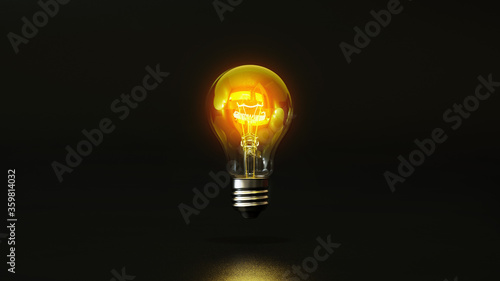 Fotografie, Obraz Light bulb on black background