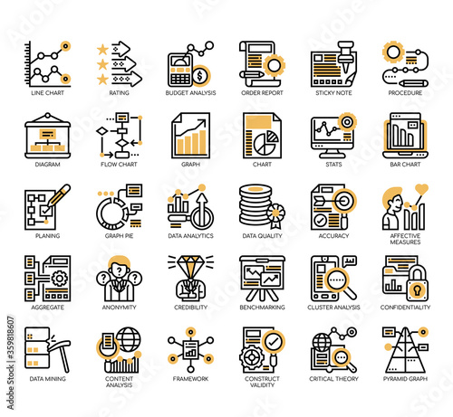 Set of research and analysis thin line and pixel perfect icons for any web and app project Canvas Print