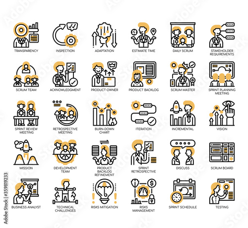 Set of scrum process thin line and pixel perfect icons for any web and app project Canvas Print