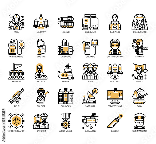 Foto Set of military thin line and pixel perfect icons for any web and app project