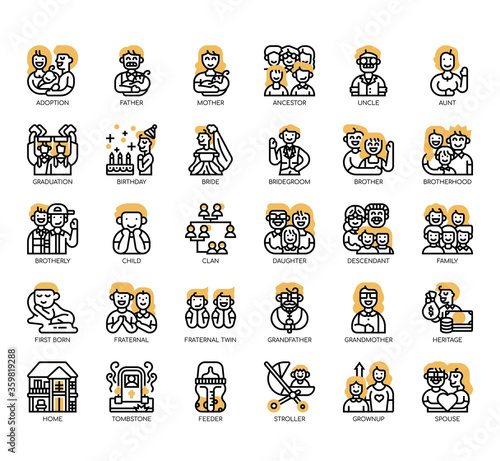 Valokuva Set of Family thin line and pixel perfect icons for any web and app project