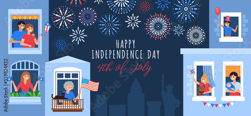 4th of July, Independence Day of the United States, greeting card design. People celebrating at home. Flat style cartoon vector illustration