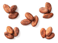 Dried Cocoa Beans Isolated On White Background, Top View