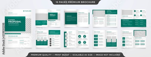 Fototapeta business brochure template with minimalist and simple infographic timeline use f