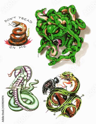 Snakes tattoo flash set