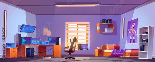Photo Teenager boy bedroom interior, gamer, programmer, hacker or trader room with mul