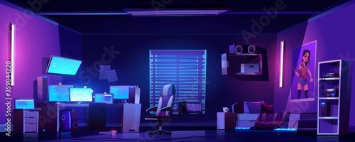 Fototapeta Teenager boy bedroom night interior, gamer, programmer, hacker or trader room with multiple computer monitors at work desk, unmade bed, 3d printer on shelf, placard on wall cartoon vector illustration obraz