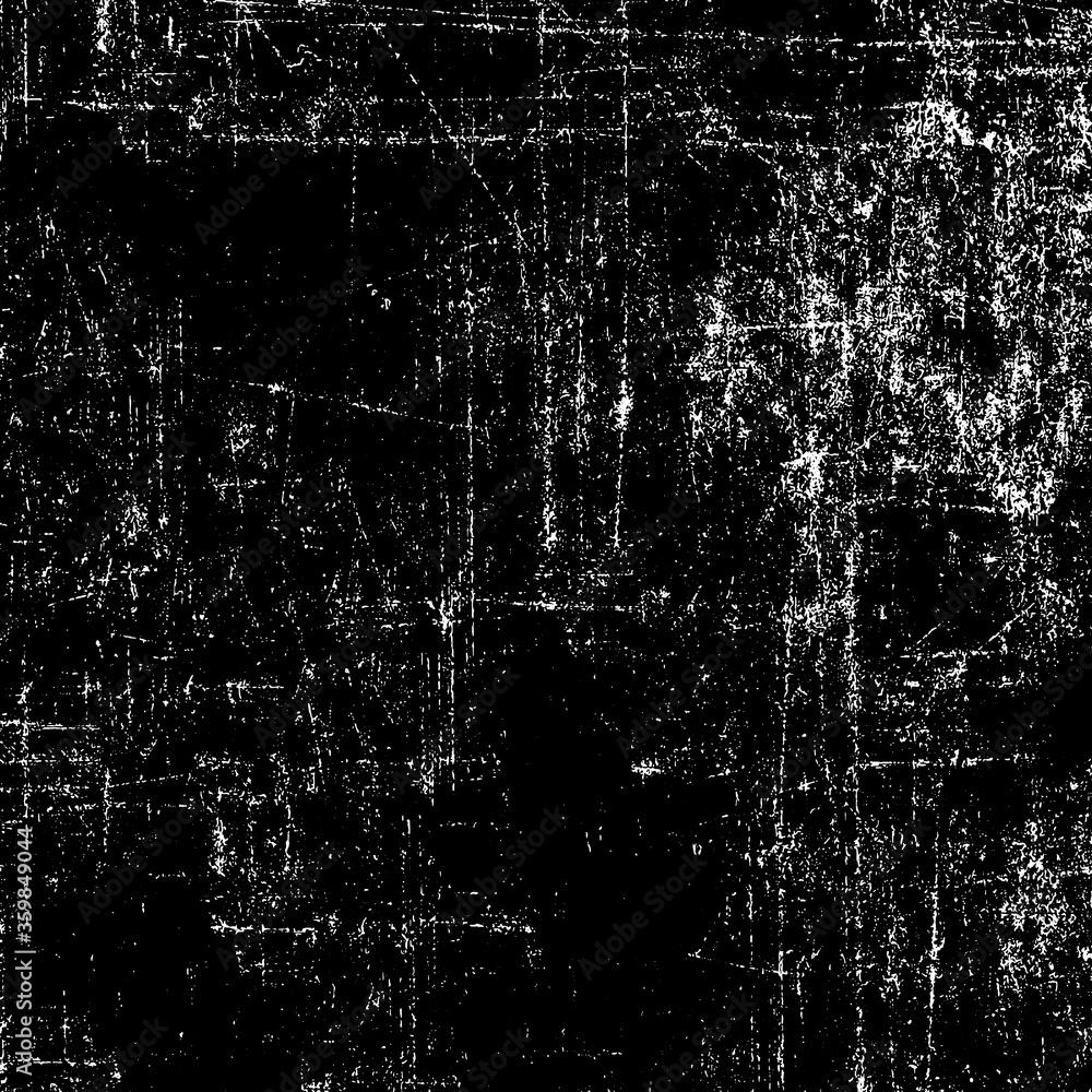 Fototapeta Grunge background black and white. Texture of chips, cracks, scratches, scuffs, dust, dirt. Dark monochrome surface. Old vintage vector pattern.