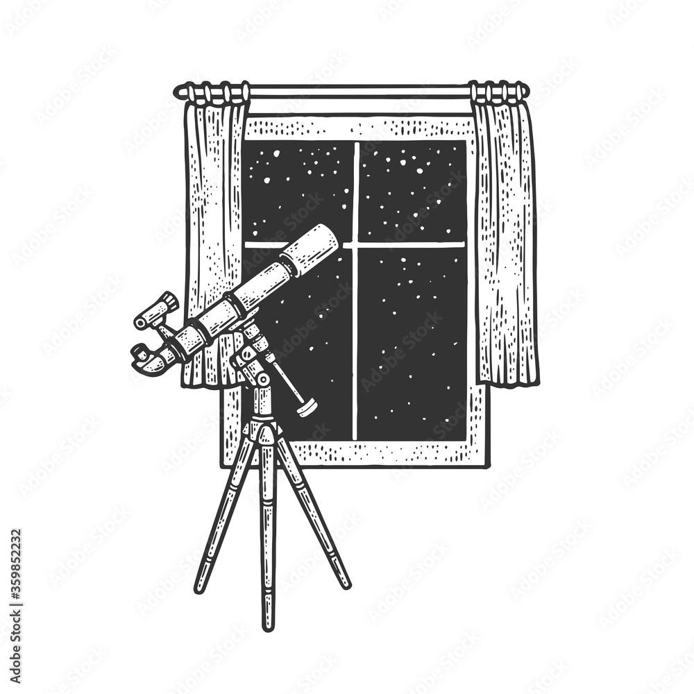 Fototapeta telescope and open window sketch raster