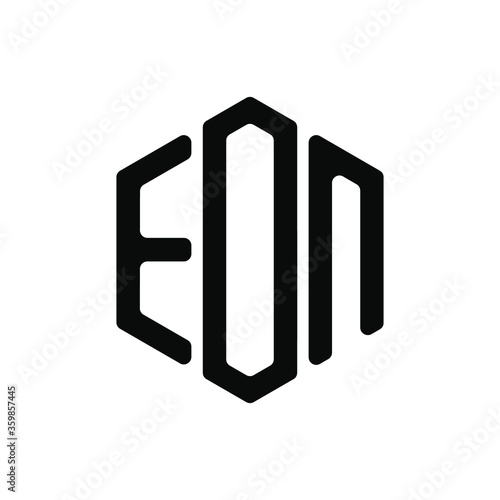 Photo EON Letter Logo Design polygon rounded Monogram Icon Vector Template