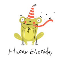 Funny Cute Birthday Card With Baby Frog Wearing Party Hat, Cute Smiling Happy Animal For Children. Happy Birthday Lettering Hand Drawn Doodle Design. Vector Kids Cartoon Illustration.
