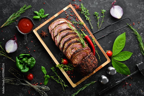 Stampa su Tela Baked veal and cheese roll with spices and rosemary
