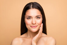 Closeup Photo Of Naked Latin Lady Model Natural Beauty Without Makeup Touch Cheek Pure Soft Smooth Skin Applying Anti Age Cream Isolated Beige Pastel Color Background