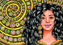 Young Woman With Curly Black Hairs, One Earring And Beads Hand-drawn Illustration