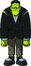 Vector Cartoon Frankenstein Monster Standing