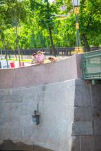 Monument Sculpture Of Chizhik-Pyzhik Small Bird On Fontanka River, St. Petersburg, Russia