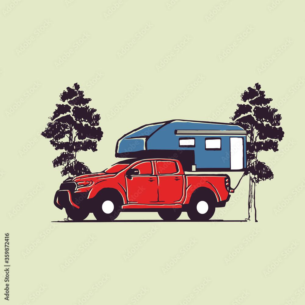 Fototapeta vector illustration adventure car