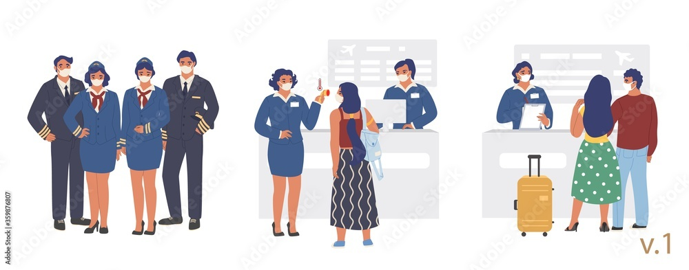 Fototapeta New flight travel rules at airport terminal check-in, vector flat illustration. Pilots stewardesses passengers wearing face masks, health thermal screening. Covid-19 spread prevention during travel.