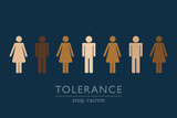 stop racism tolerance concept persons with different skin colors vector illustration EPS10