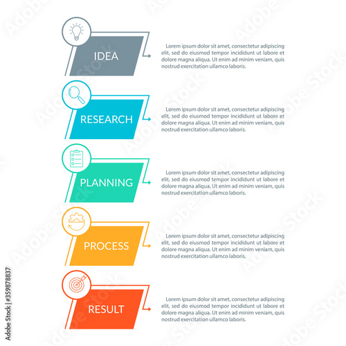 Wallpaper Mural 5 steps, option or levels infographic design with business icons