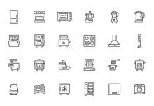 Kitchen Appliance Line Icon Se...
