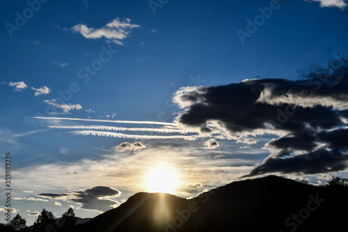 sunset over the sea, photo as a background , in janovas fiscal sobrarbe , huesca aragon province