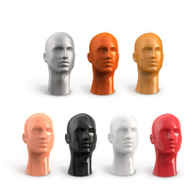 Set Male Head With Face. Plastic Vector 3d Realistic Mannequin. Decor For Showcase Hats. The Human Body Of A Man Of White, Black, Beige, Red, Silver, Gold, Bronze Color.