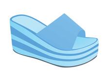 Blue Striped Woman Sandal. Vector Illustration