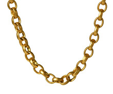 Fragment Of A Yellow Metal Chain On A White Background. Isolated