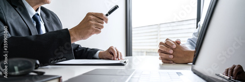 Fototapeta Senior selection committee asking questions to applicant about interview obraz