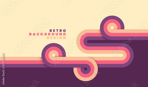 Photo Simple retro background with rounded striped design element in color