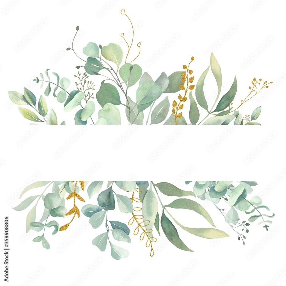 Fototapeta Watercolor hand painted frame with green and gold leaves.Watercolor floral illustration with branches -  for wedding invite, stationary, greetings, wallpapers, background.