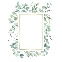 Watercolor Hand Painted Frame With Green And Gold Leaves.Watercolor Floral Illustration With Branches -  For Wedding Invite, Stationary, Greetings, Wallpapers, Background.