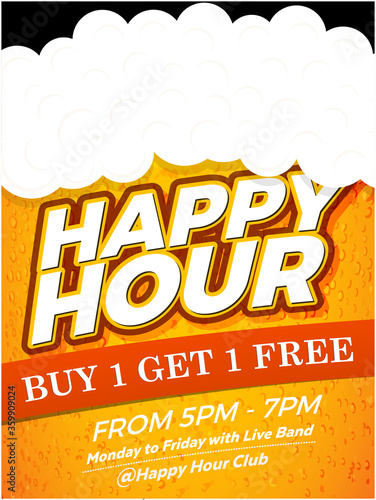 Photo Happy Hour Vector Illustration Background for Poster, Banner, Flyer, Sign Board, Advertisement, Promotion, Web