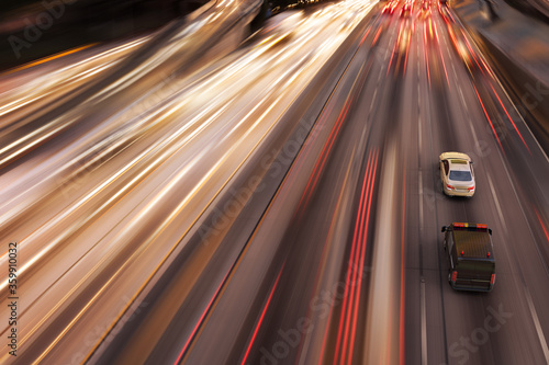 3D rendering of a high speed police chase in a highway. Canvas Print