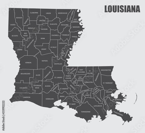 Obraz na plátně Louisiana County Map