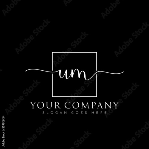 initial UM branding logo collections, handwriting logo of initial signature, wed Canvas Print