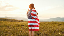 Happy Child Girl With Flag Of ...