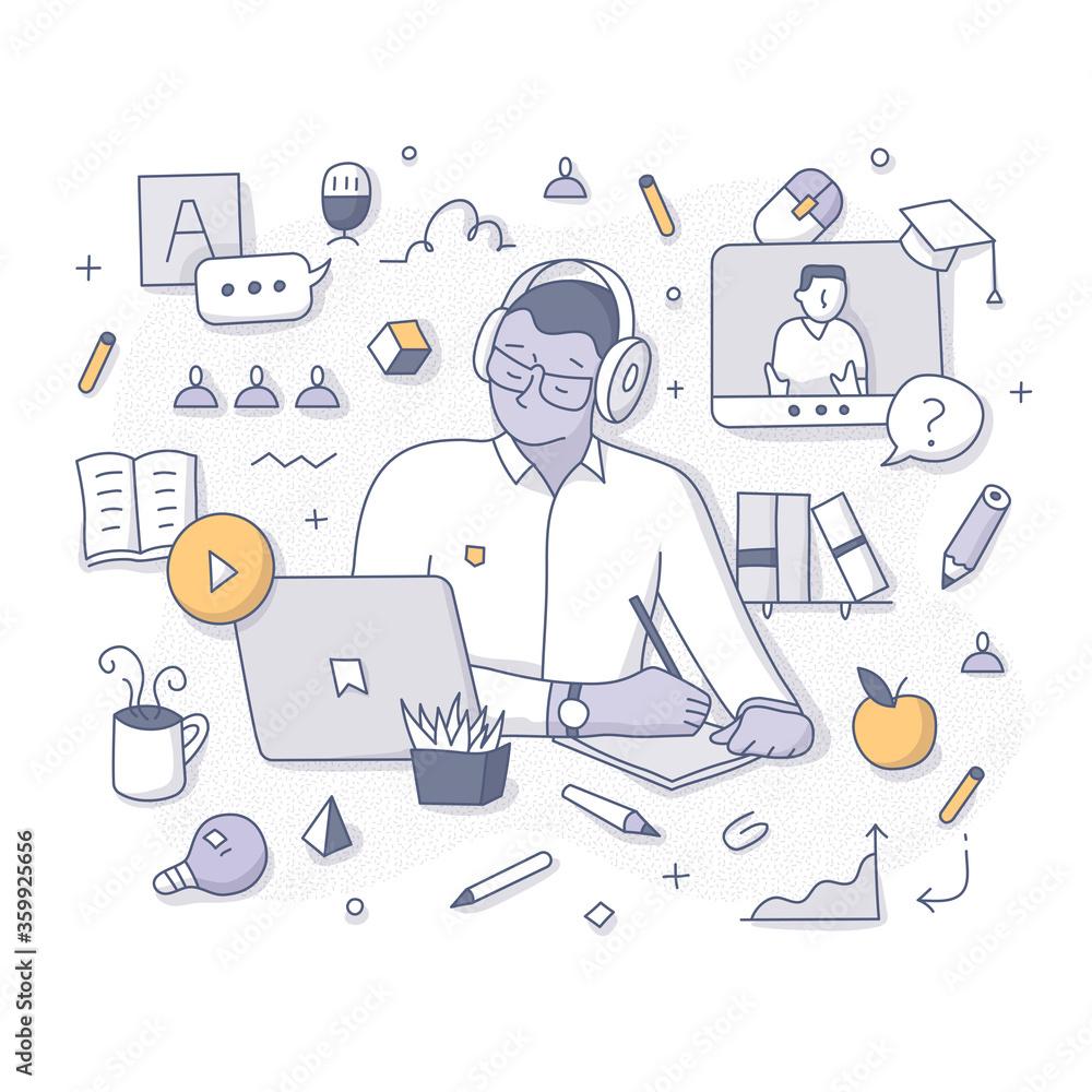 Fototapeta Taking Online Course Doodle Concept
