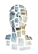 Portrait Of A Young Woman With Art Fashion Makeup. Mosaic Of Silver Squares Drawn On Woman Face. Isolated On White.