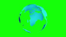 Earth Planet (full View) Spinning 360 Degrees Isolated At Green Screen (chroma Key). 3d Animation.