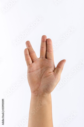 Fotomural Close up of hand with show live long and prosper hand sign