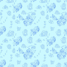 Vector Seamless Pattern With Seashells And Snail. Tropical Background Design. Doodle. Funny Set